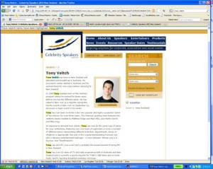Screen capture of Tony Veitch Celebrity Speakers profile