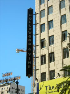 The famous Hollywood and Vine corner - cheap suit anyone?