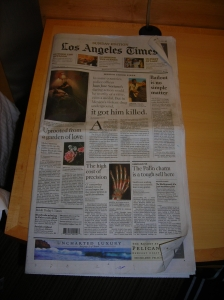 LA Times front page 7 Sept 08 - five stories, leads into features