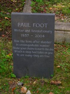 Paul Foot memorial headstone in Highgate cemetery, London
