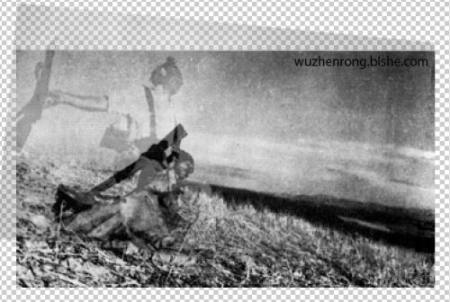 A photoshopped composite of two falling soldiers