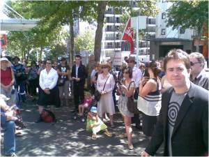 Jake and friends at the Auckland protest 1 March