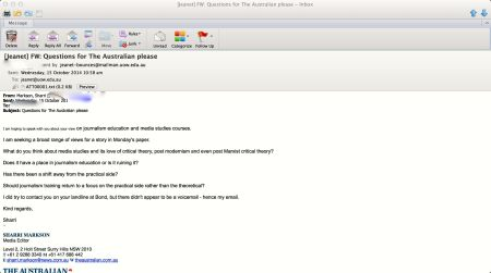 Sharri Markson's email. Oops, it leaked.
