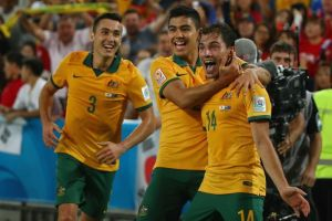 Soceroos celebrating CanDo Newman's own goal last night.