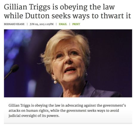 One law for Gillian another one for Minister Cabbage (screenshot, crikey.com.au)