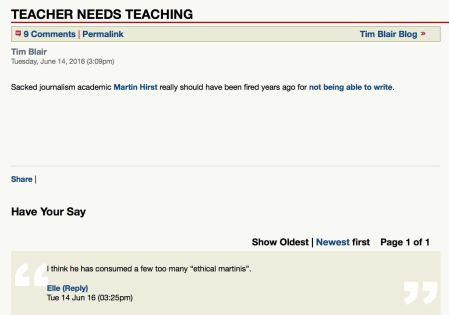 Teacher needs teaching Blair 14 June